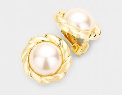 Classy Pearl Clip On Earrings with Ornate Gold Border