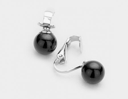 Clip On Pearl Earrings Elegant Petite Black Solo Pearl