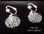 Fashion Clip-On Earrings, Silver Plated Hammered Finish