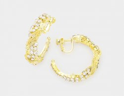 Glamorous Clip On Hoop Earrings Gold with Dazzling Crystals