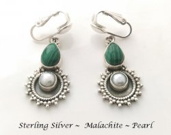Clip On Pearl Earrings with Malachite Gems, Sterling Silver