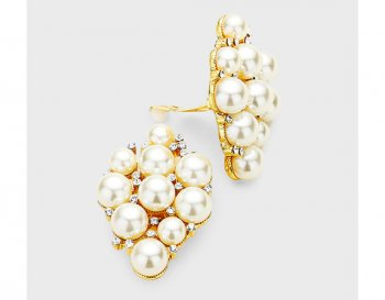 Large Cluster Pearl Clip On Earrings, Gold with Rhinestones