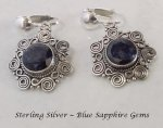 Clip On Earrings, Blue Sapphire, Sterling Silver | Dazzlers