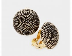 Textured Antique Button Clip On Earrings Gold by Dazzlers