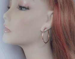 Large Rose Gold Clip On Hoop Earrings, 40mm Diameter