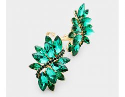 Green Marquis Crystal Clip On Statement Earrings | Dazzlers