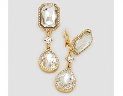 Large Dazzling Crystal Clip On Earrings Gold with Clear Crystals