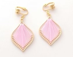 Pink Harp Fashion Clip On Drop Earrings, Gold | Dazzlers