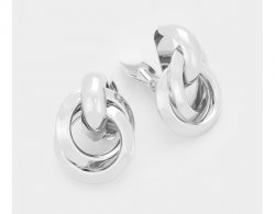 Modern Clip On Earrings, Silver Interlinking Circles