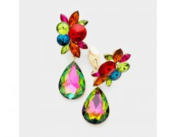 Large Staement Crystal Drop Clip On Earrings | AB Crystals