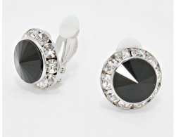 Austrian Crystals Black and Clear Petite Clip On Earrings