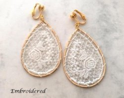 White Embroidered Teardrop Gold Drop Clip On Earrings