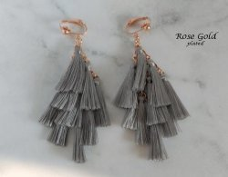 Tassel Clip On Earrings, Multiple Tassels, Rose Gold Clips