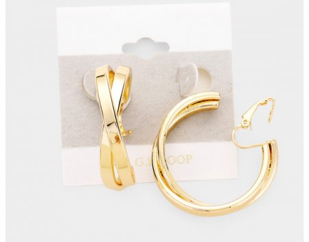 14ct Gold Filled Clip On Hoop Earrings Crisscross by Dazzlers