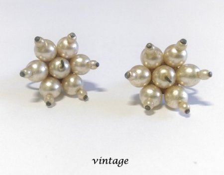 Vintage Pearl Clip On Earrings with Screw Back Clip circa 1960's