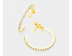 Gold Open Clip On Hoop Earrings, Crystals, Screwback