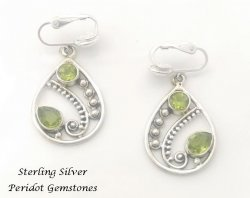 Sterling Silver Clip On Earrings with Peridot Gemstones