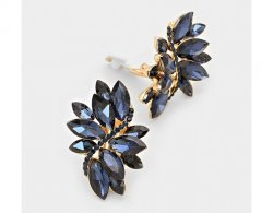 Clip On Crystal Earrings Marquise Style Royal Blue Crystals