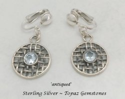 Artisan Crafted Clip-on Earrings, Blue Topaz Gems | Dazzlers