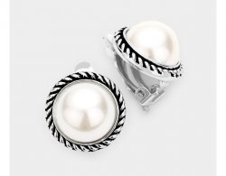 Beautiful Pearl Clip On Earrings with Ornate Silver Border