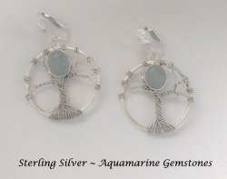 Sterling Silver Clip On Earrings with Aquamarine Gemstones