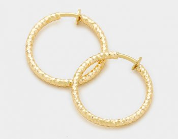 gold clip on hoop earrings