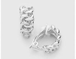 Silver Clip On Hoop Earrings Link Chain Style | Dazzlers