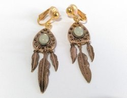 Gold Clip On Dangle Earrings with Faux Gemstones and Feathers
