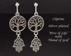 Clip On Earrings, Tree of Life, Hand of God, Fashion Earrings