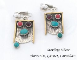 Clip On Earrings, Sterling Silver, Turquoise, Garnet, Carnelian