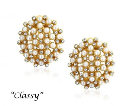 Clip On Earrings Clustered with Faux Pearls & Dazzling Crystals