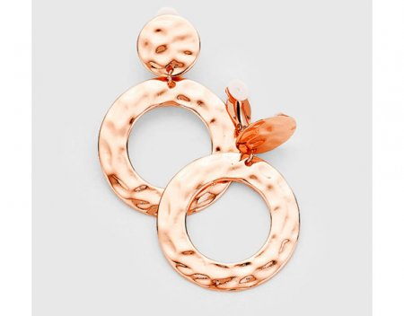 Large Rose Gold Fashion Clip On Dangle Earrings Hammered Finish