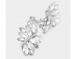 Dazzling Marquise Crystal Clip On Earrings, Retro Style