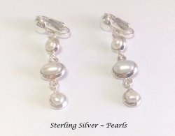 Dangle Clip On Pearl Earrings Sterling Silver, 3 Cultured Pearls