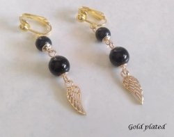 Clip On Earrings, Gold Retro Style with Angel Wing | Dazzlers