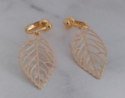 Gold Clip On Earrings, Leaf Design, Fashion Clipon Earrings