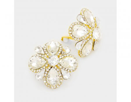 Large Dazzling Clear Crystal Clip On Earrings in a Flower Design