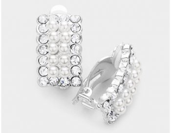 Silver Clip On Pearl Earrings with Dazzling Crystals by Dazzlers