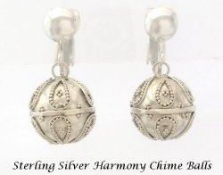 Harmony Chime Ball Sterling Silver Clip On Earrings, Balinese