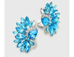 Gorgeous Aqua Marquis Crystal Clip On Earrings | Dazzlers