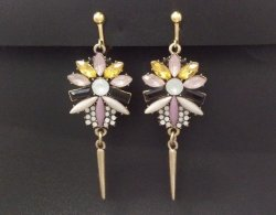 Clip On Earrings, Colourful Crystals, Enameled, Gold Clips