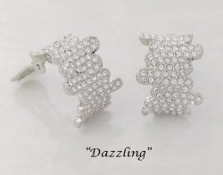 Dazzling Half Hoop Crystal Clip On Earrings - Sparkling Crystals