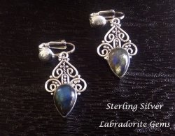 Sterling Silver Clip On Earrings with Labradorite Gemstones