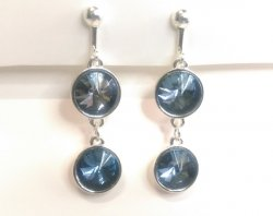 Dangle Clip On Earrings with Dazzling Blue Crystals 2 Tier Drop