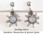 Sterling Silver Clip On Earrings Garnet and Moonstone Gems