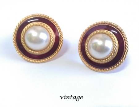 enameled button vintage clip on earrings