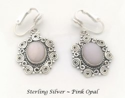 Dangle Clip On Earrings, Pink Opal in Sterling Silver | Dazzlers