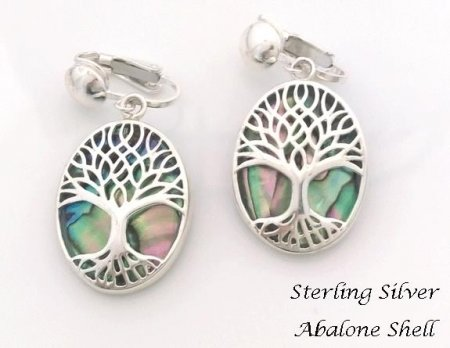 Sterling Silver Clip-on Earrings, Tree of Life with Abalone