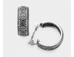 Antiqued Motifs on Silver Half Hoop Clip-On Earrings | Dazzlers