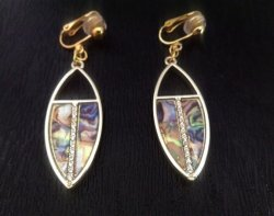 Gold Dangle Clip On Earrings with Faux Abalone Shell